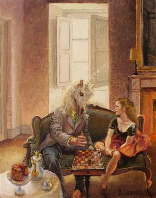 Brigitte Szenczi - Leccion-de-ajedrez-24x19cm-Oleo-tela-2013