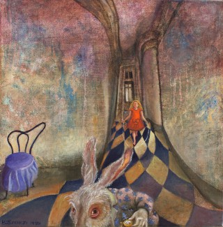 Brigitte Szenczi - In-the-Rabbit-Hole-30x30cm-Oleo-tela-2013