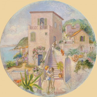 Brigitte Szenczi - Cimiez-ou-la-republique-des-femmes-Tondo-40cm-diam-Oleo-tela-2014