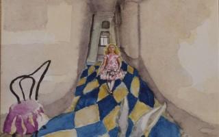 Brigitte Szenczi - ¡Cielos! Voy a llegar tarde 12 x 12 cm Acuarela sobre papel 2013