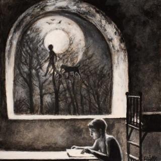Juan Antonio Mañas - Lectura - 12 x 12 cm Óleo sobre papel 2014