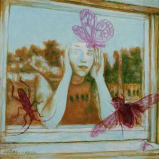 Juan Antonio Mañas - Señorita Butterfly - 12 x 12 cm Óleo sobre papel 2014