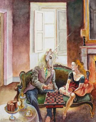 Brigitte Szenczi - La lección de ajedrez - 24 x 19 cm Acuarela sobre papel 2014