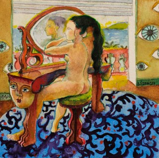 Brigitte Szenczi - La toilette - 12 x 12 cm Óleo sobre papel 2014