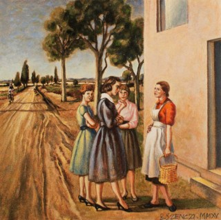 Brigitte Szenczi - La visitación - 12 x 12 cm, Óleo sobre papel 2014