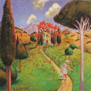 Brigitte Szenczi - Perséfone en el jardín - 12 x 12 cm, Óleo sobre papel 2014