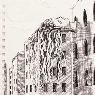 Brigitte Szenczi - Rapunzel - 175 x 175 cm Tinta y collage sobre papel 2014